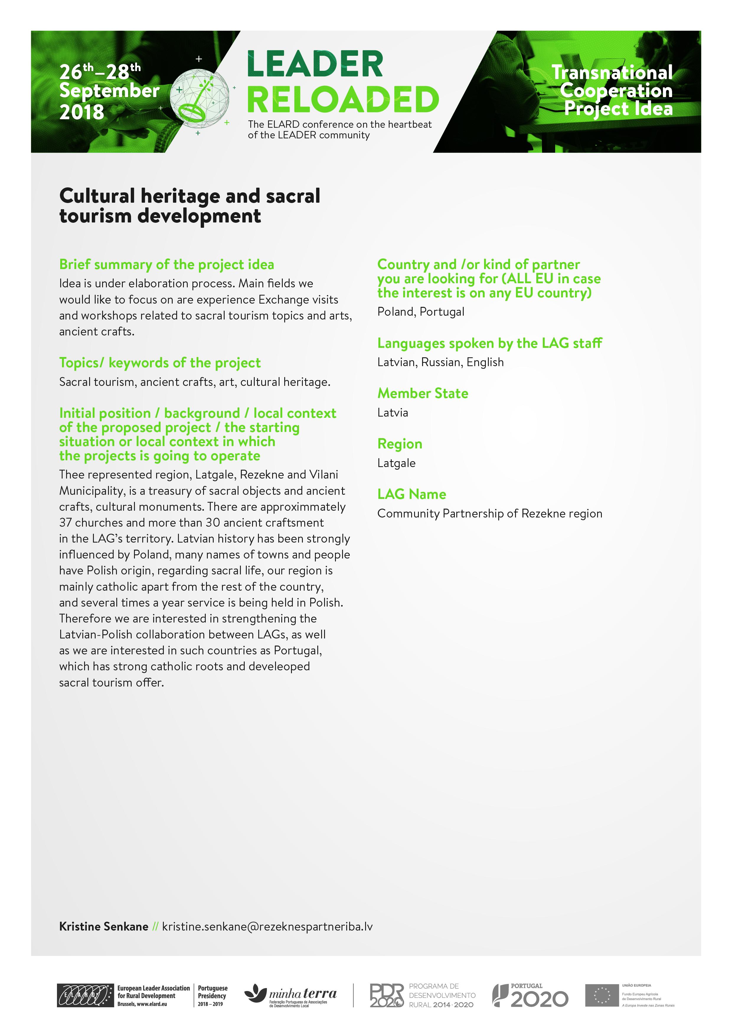 Cultural heritage and sacral tourism development - LEADER